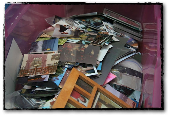 Plastic bin filled with paper photographs ready to be scanned