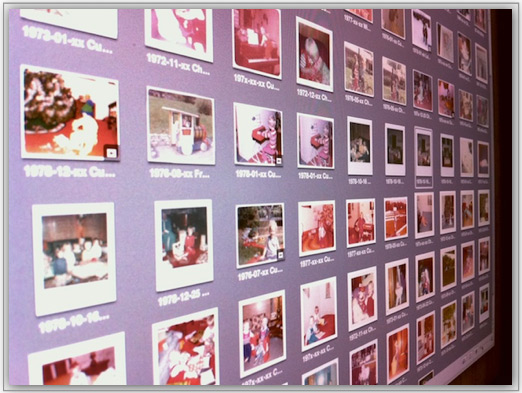 Screen full of scanned photo thumbnails out of order