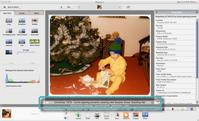 Caption example in Picasa 3 for Mac
