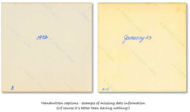"The back of two scanned photos showing handwritten shoot date information - ""1972"" and ""January 23"""