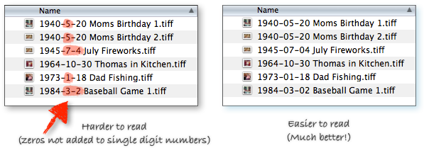 Graphic: Folders of scanned photos using zeros added to dates correctly and incorrectly