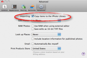 Apple's iPhoto Advanced Preferences Tab