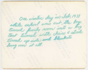 Hand-written Caption or description for Scanned Photo