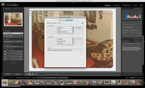 Lightroom Loupe View Caption Library View Options Menu