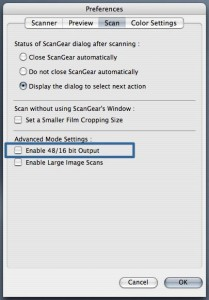 Canon ScanGear Preferences Scan Tab 48 bit Setting