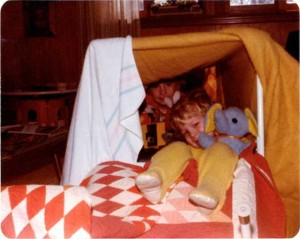 Boys in Blanket Tent - Scanning Photos Adding Captions Descriptions