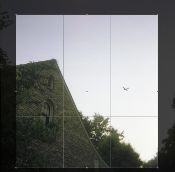 Scanning Negative vs Print - House with Plane flying overhead - Crop Comparison