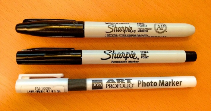 Itoya Art Profolio Marker next to 2 Permanent Sharpie Markers
