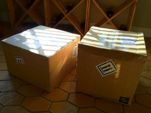 Two large boxes filled photos