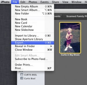 iPhoto Export Option from Menu Bar