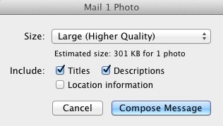 iPhoto Email Window for Description and Title Text Information