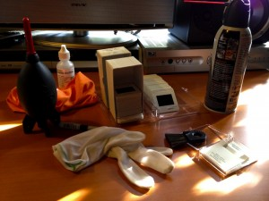 Table full of tools I use to clean my slides when I scan them