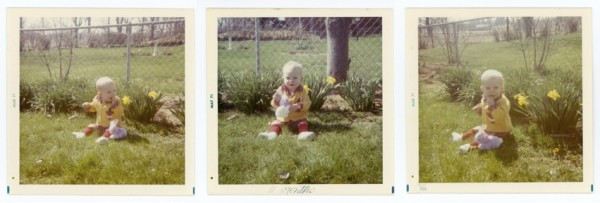 3 very similar photos of a boy sitting in the grass from a photo shoot