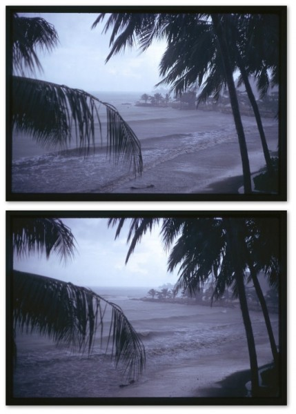 2 photos almost exactly alike looking at a stormy beach
