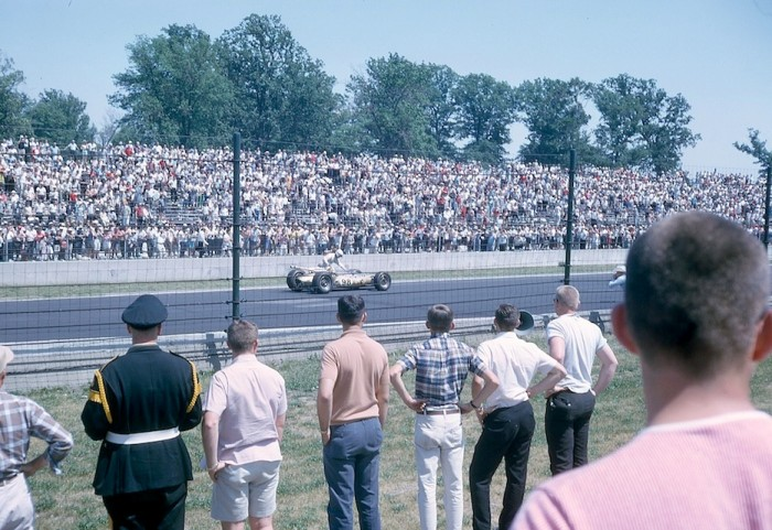 View from the stands of the Indy 500 race from the mid 1960's.