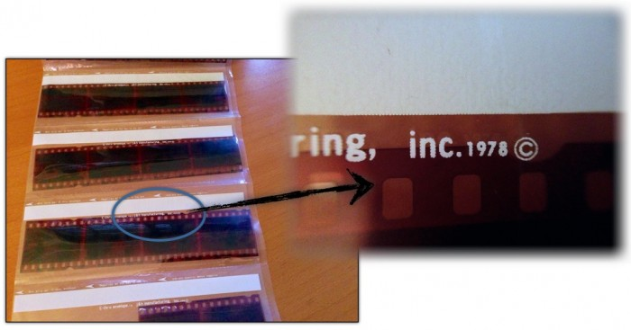 Blowup image of the copyright date printed on the 35mm negative holder from a film processor