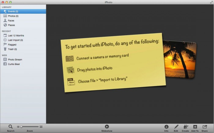 """How a brand new and empty iPhoto """"Photo Library"""" looks when it's first created. (iPhoto'11 v.9)"""