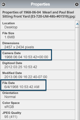 """Possible places the corrected date will show up in the """"Properties Panel."""""""