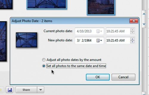 Window to change the date and time for multiple photos in Picasa