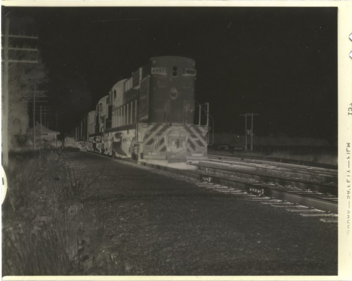 """4 x 5"""" b&w negative, CPR 8557 and train at Locust Hill, Ontario"""