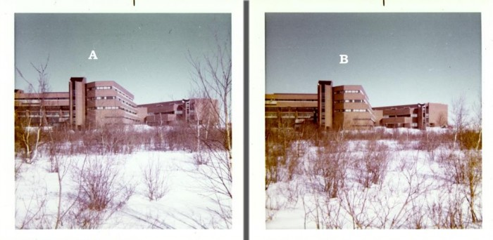 These 2 photos were taken by a student photographer for possible use in the college yearbook. Photo 'A' shows a little more of the school building but has some trees obstructing the view. Photo 'B' cuts a bit off the left side of the structure but has fewer obstructing trees in the shot. Factors such as this should be considered when deciding which image to scan for your archives.