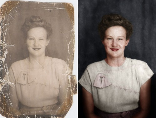 Restoration of photo before and after.