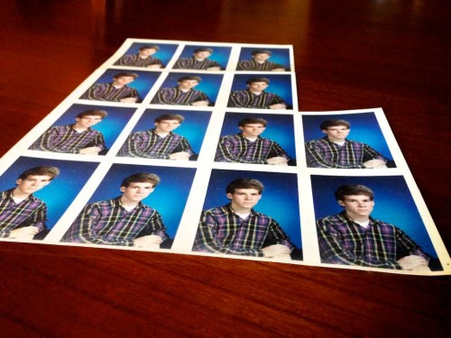 Printed contact sheet of wallet sized school photos