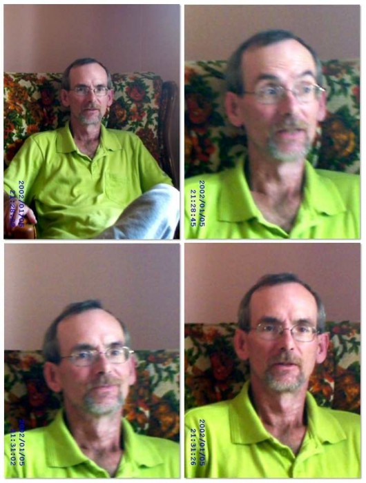 4 similar images of a man sitting but of various croppings