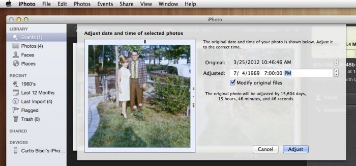 adjust date and time window in iPhoto