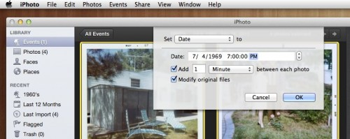 batch change date and time window in iPhoto