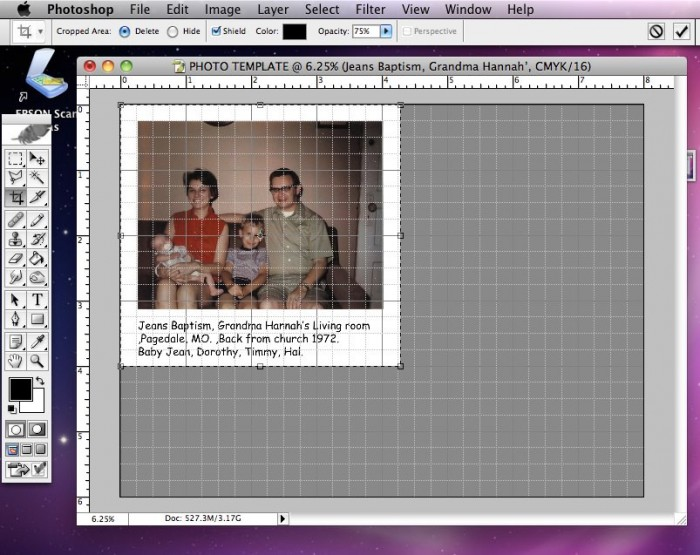 Crop and turn off grid lines in Photoshop