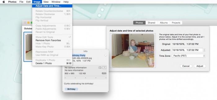 Photos for Mac Adjust Date and Time Feature