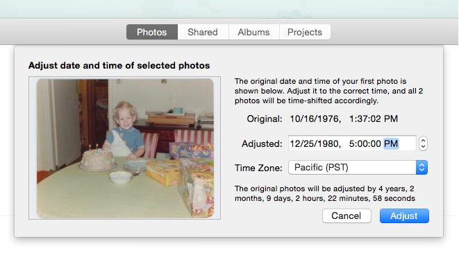"Photos for Mac showing batch feature of ""Adjust Date and Time"" with 2 photos selected [Photos Version 1.0 (205.44.0)]."