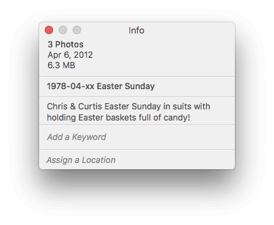 Photos for macOS Info Window - Title and Description filled out