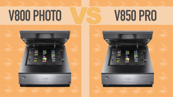 Epson v800 vs v850 photo scanners side by side graphic