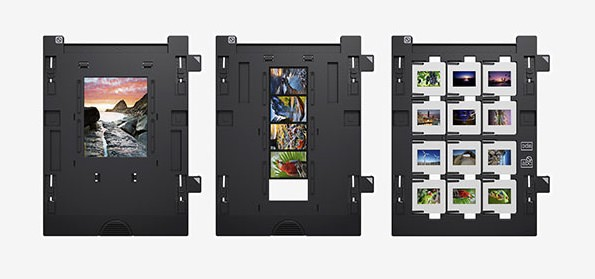 3 Epson Perfection V800 flatbed series loaded film holders spread out