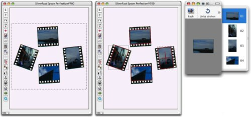 Screenshots showing SilverFast SE Plus Auto Frame Alignment of 4 negative frames