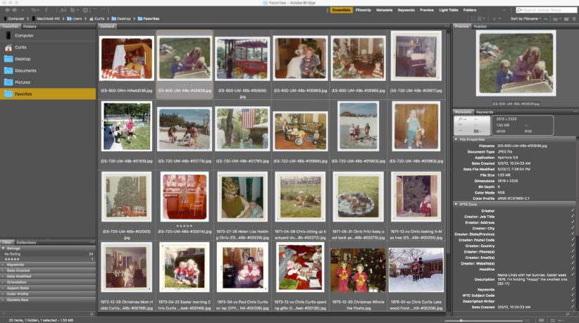 Wall of image thumbnails - Adobe Bridge CC - Photo Manager