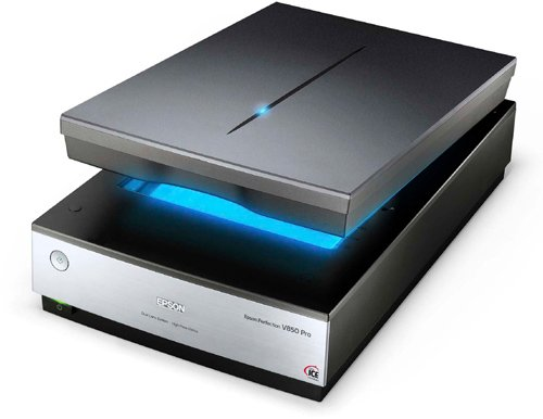 Photo scanner with lid open - Epson Perfection V850 Pro