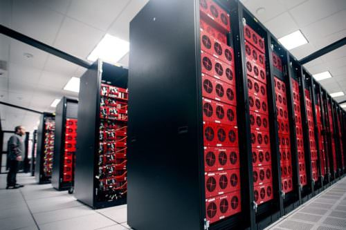 Rows of tall server and storage racks