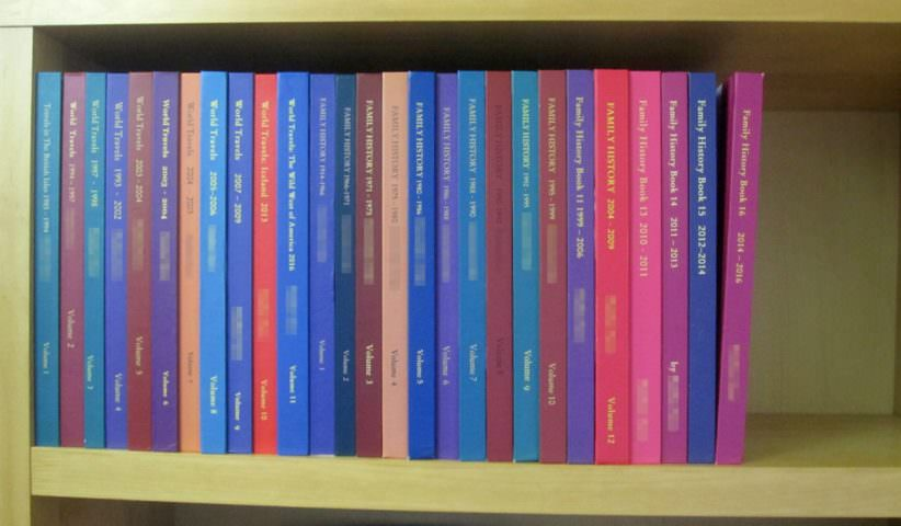 Spines of 27 bound printed photo books lined up across shelf
