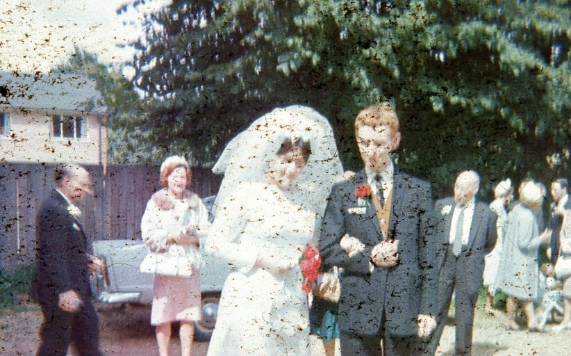 wedding photo (slide) covered with mold