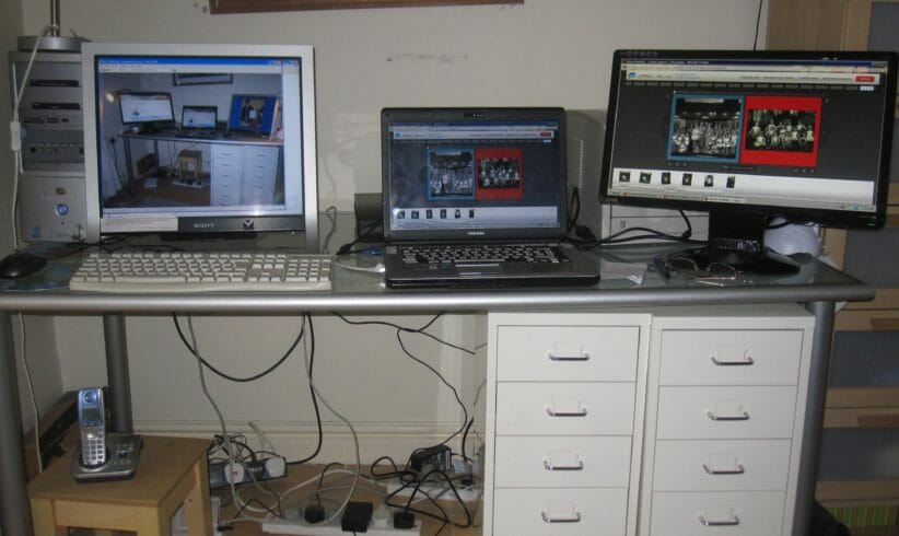 computer workstation with multiple monitors