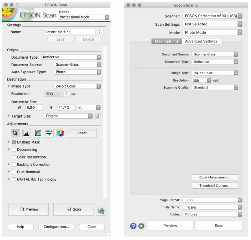 Side-by-side comparison of the original Epson Scan and Epson Scan 2 scanning software