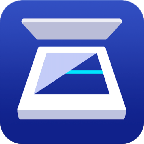 Epson Scan 2 application icon (Blue background with white photo scanner with lid open)
